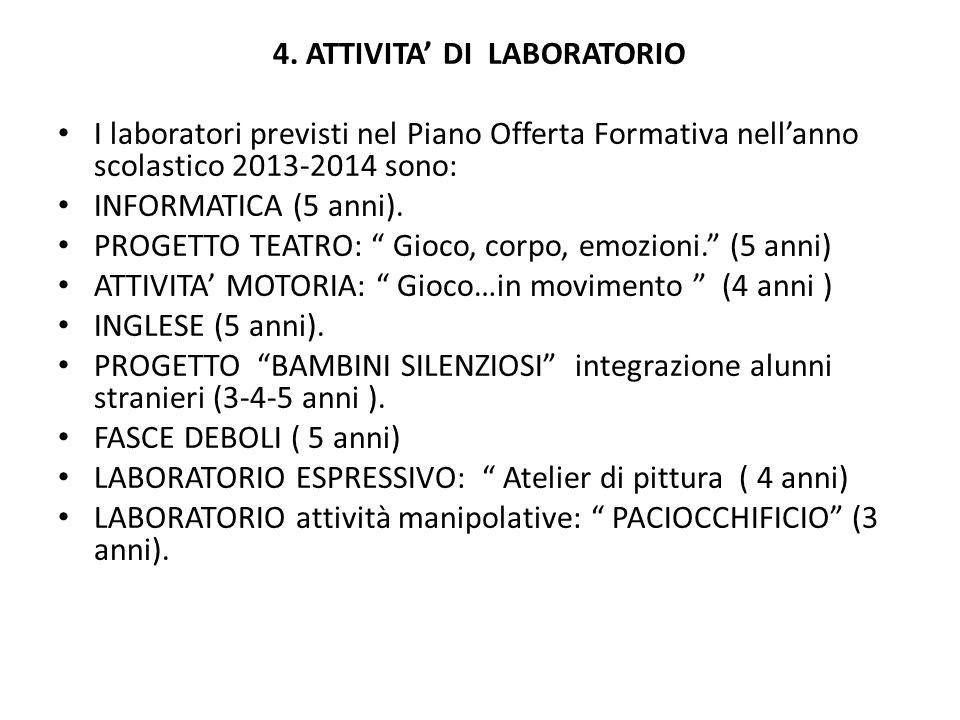 4. ATTIVITA' DI LABORATORIO