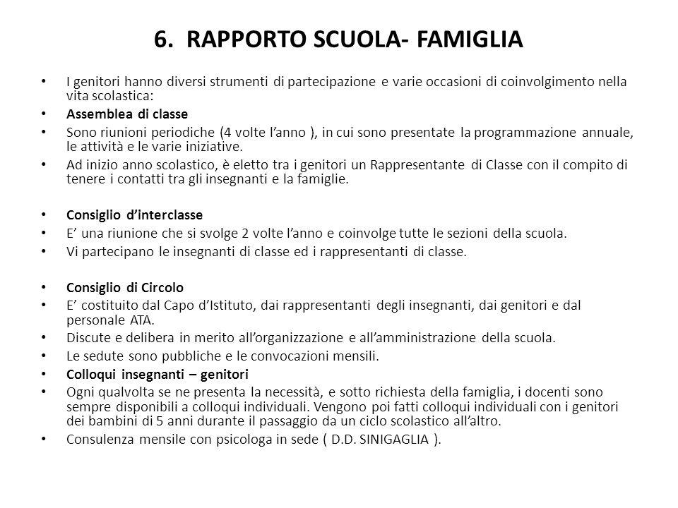 6. RAPPORTO SCUOLA- FAMIGLIA