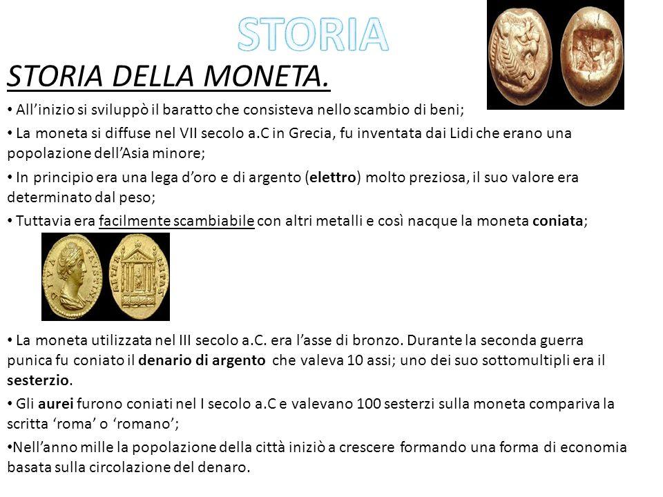 STORIA STORIA DELLA MONETA.