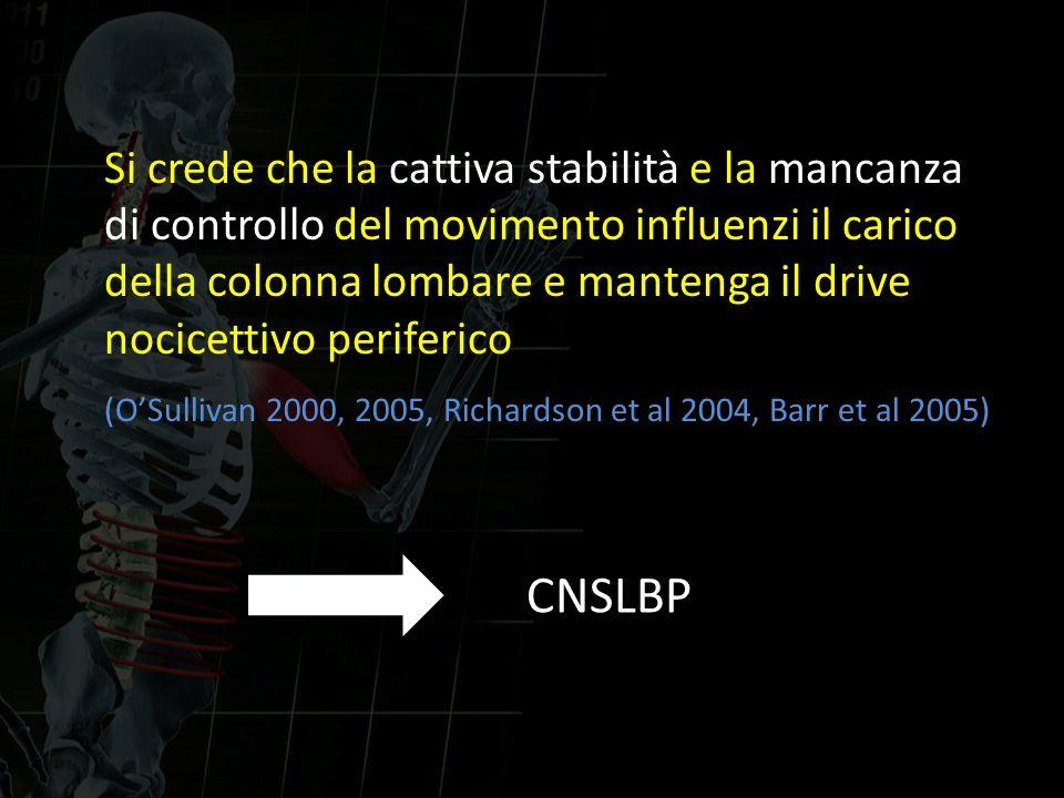 Si crede che la cattiva stabilità e la mancanza di controllo del movimento influenzi il carico della colonna lombare e mantenga il drive nocicettivo periferico (O'Sullivan 2000, 2005, Richardson et al 2004, Barr et al 2005)