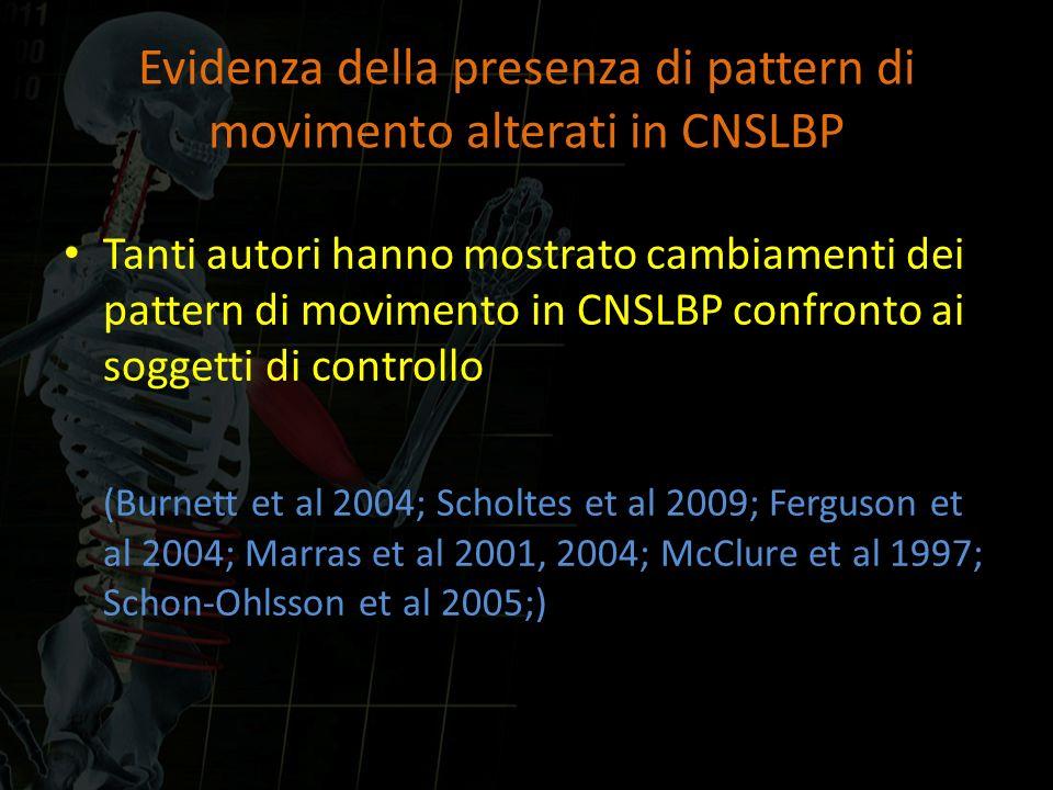 Evidenza della presenza di pattern di movimento alterati in CNSLBP