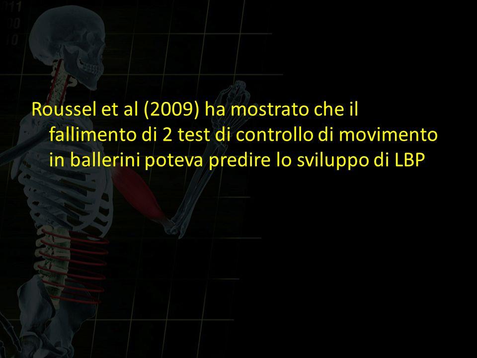Roussel et al (2009) ha mostrato che il fallimento di 2 test di controllo di movimento in ballerini poteva predire lo sviluppo di LBP