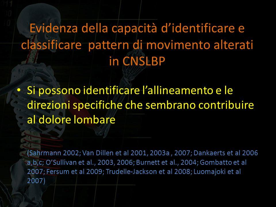 Evidenza della capacità d'identificare e classificare pattern di movimento alterati in CNSLBP