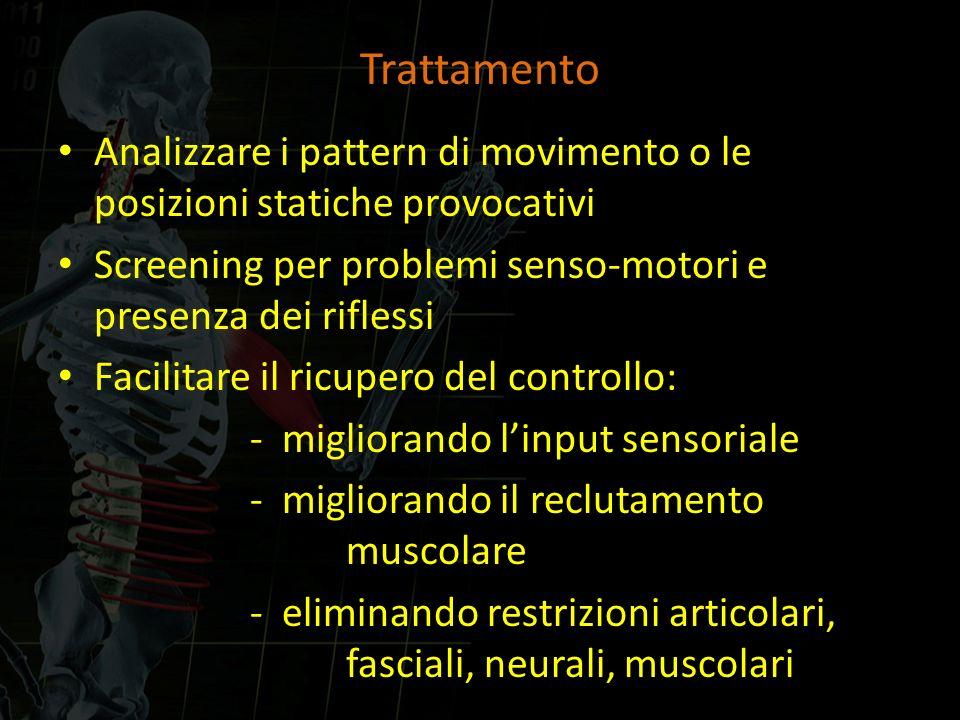 Trattamento Analizzare i pattern di movimento o le posizioni statiche provocativi. Screening per problemi senso-motori e presenza dei riflessi.