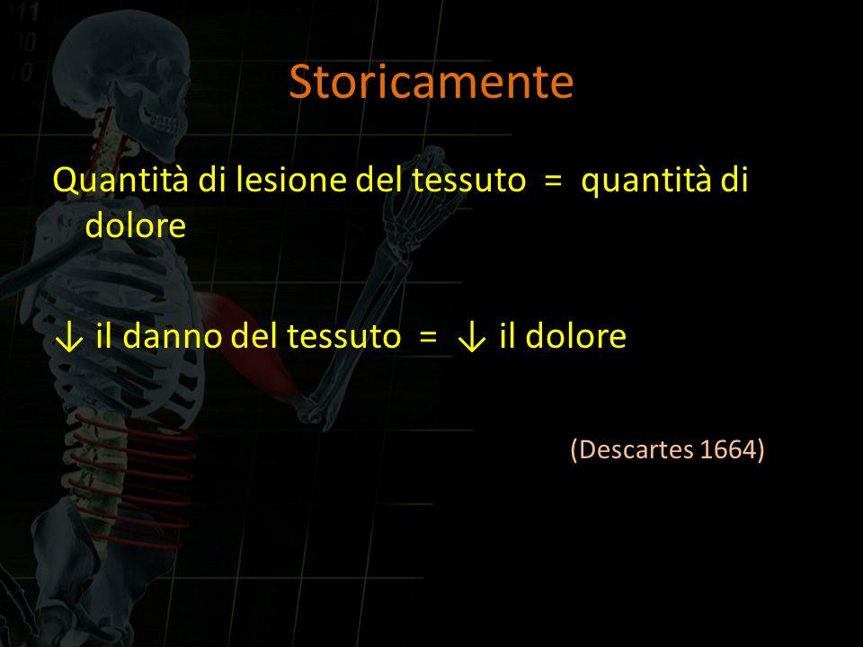 Storicamente Quantità di lesione del tessuto = quantità di dolore ↓ il danno del tessuto = ↓ il dolore (Descartes 1664)