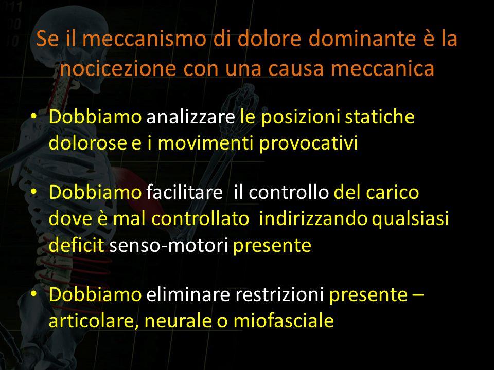 Se il meccanismo di dolore dominante è la nocicezione con una causa meccanica