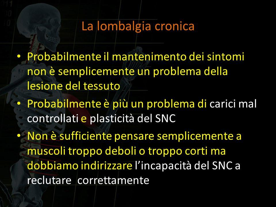 La lombalgia cronica Probabilmente il mantenimento dei sintomi non è semplicemente un problema della lesione del tessuto.
