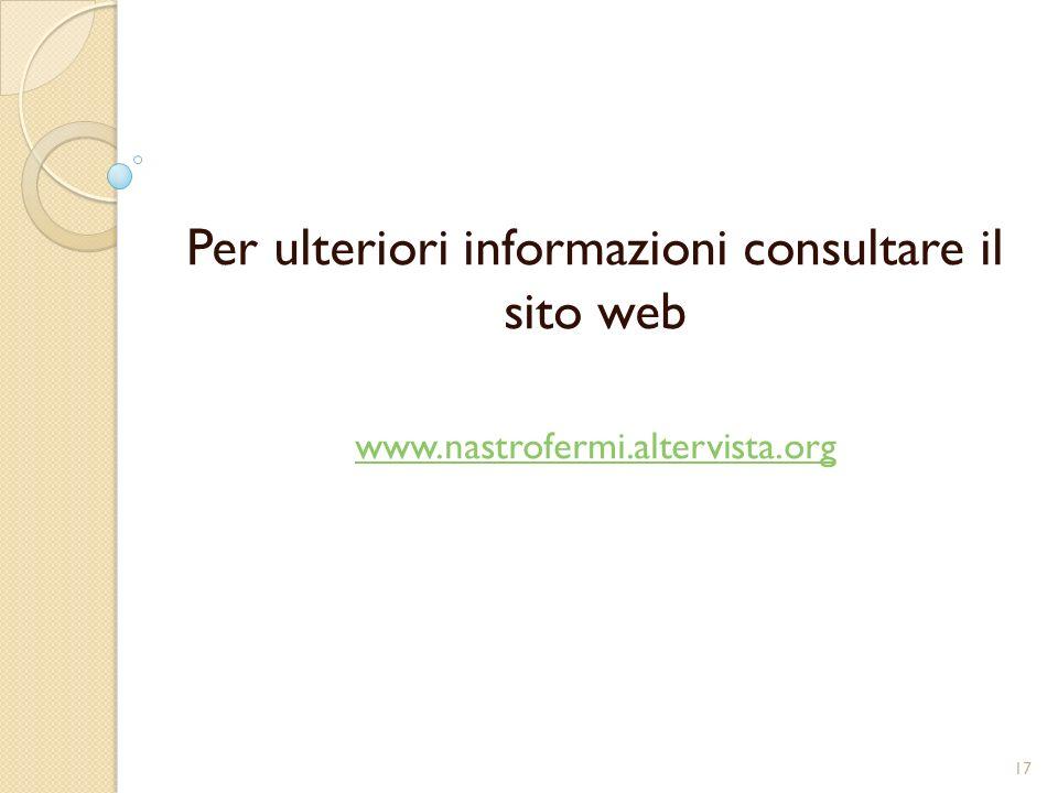 Per ulteriori informazioni consultare il sito web