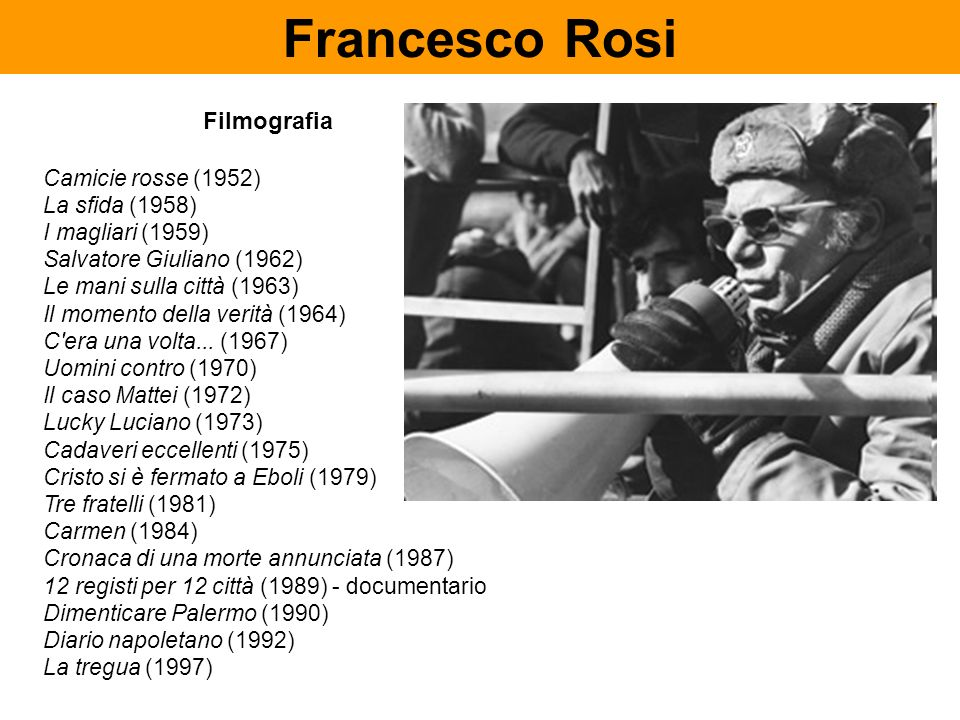 Francesco Rosi Filmografia Camicie rosse (1952) La sfida (1958)