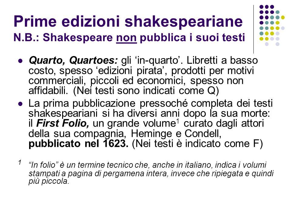 Prime edizioni shakespeariane N. B