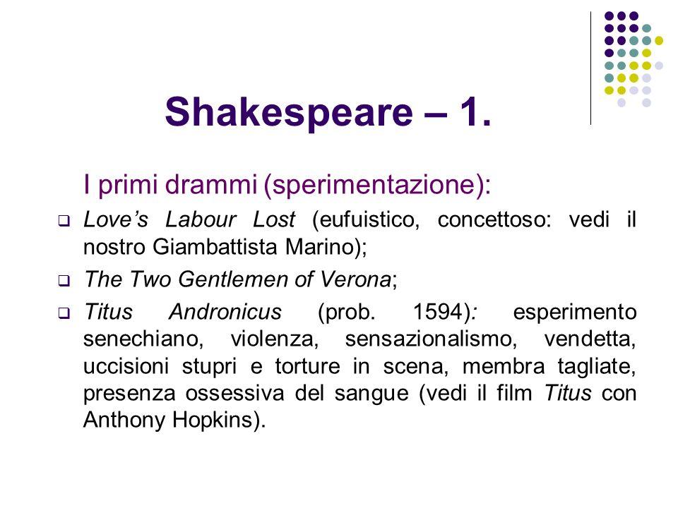 Shakespeare – 1. I primi drammi (sperimentazione):