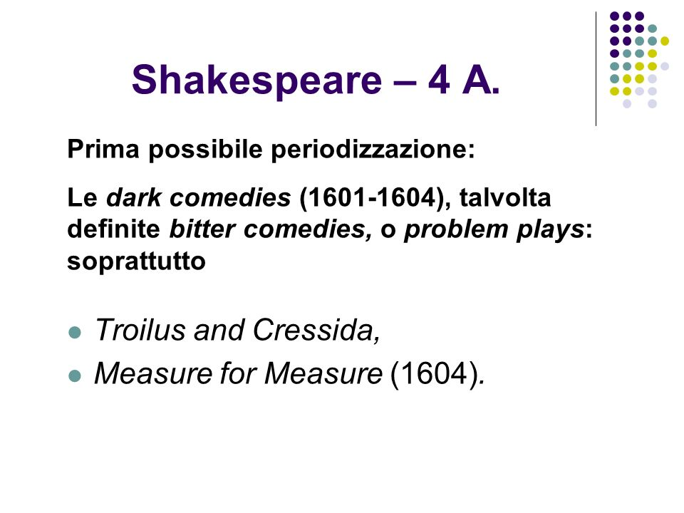 Shakespeare – 4 A. Troilus and Cressida, Measure for Measure (1604).