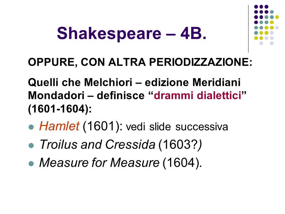 Shakespeare – 4B. Hamlet (1601): vedi slide successiva