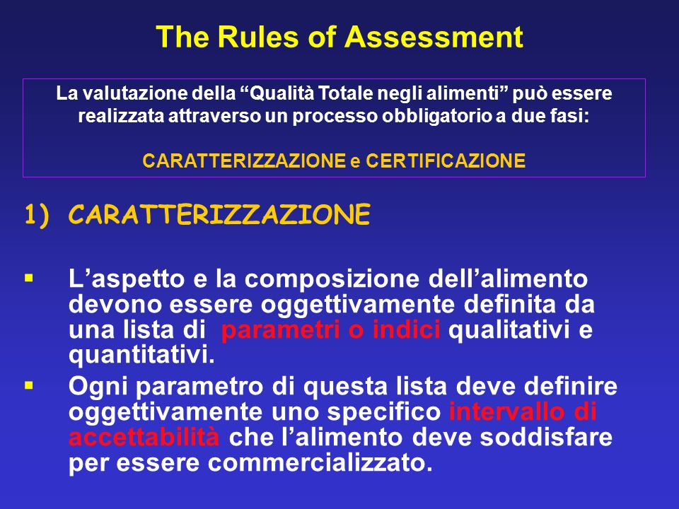 The Rules of Assessment