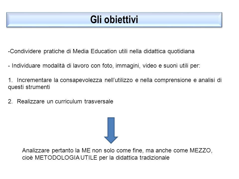 Gli obiettivi Condividere pratiche di Media Education utili nella didattica quotidiana.