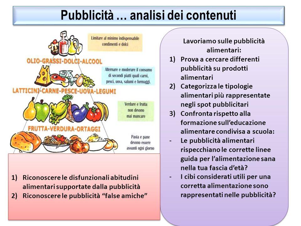 Pubblicità … analisi dei contenuti