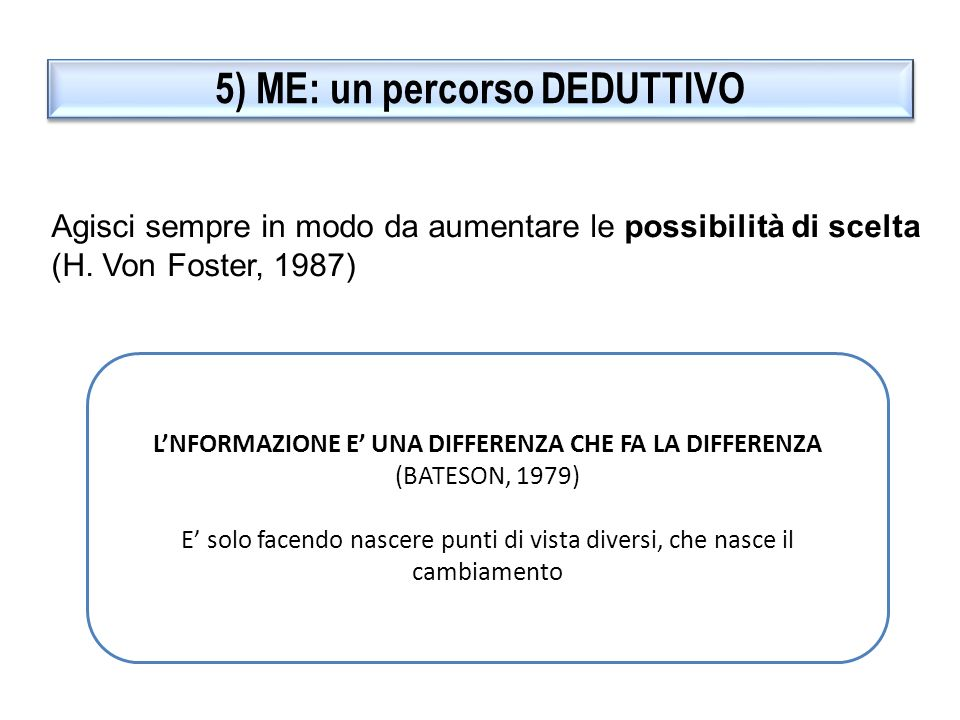 5) ME: un percorso DEDUTTIVO