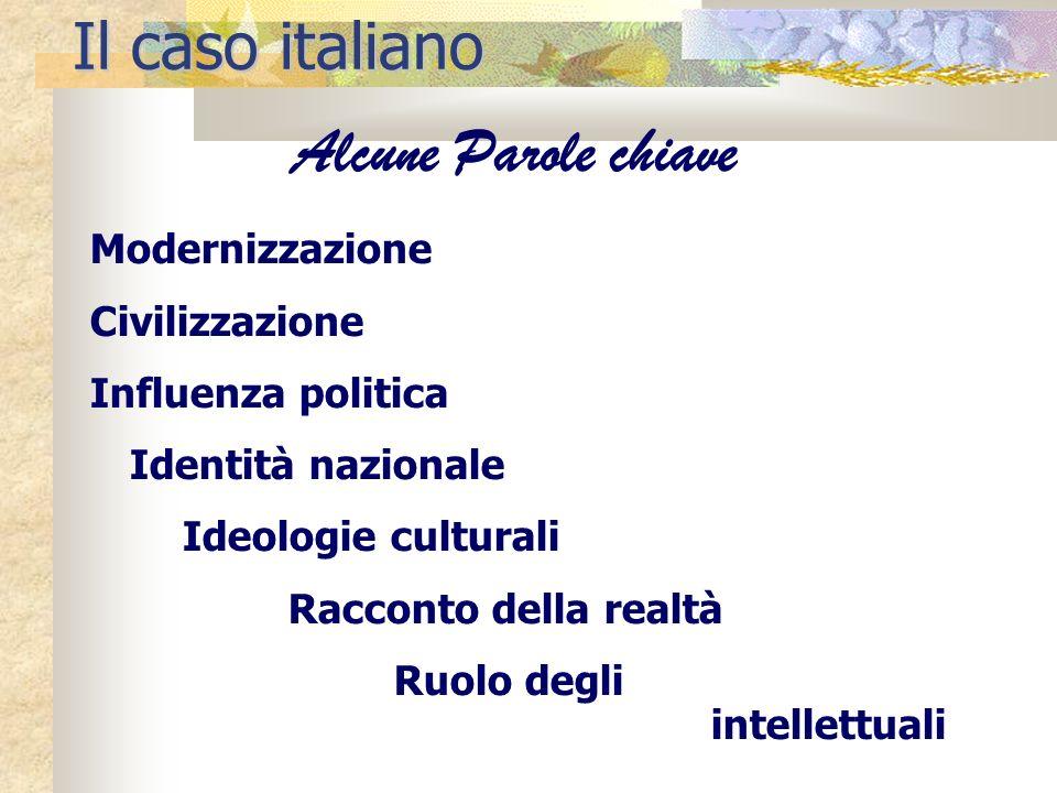 Il caso italiano Alcune Parole chiave Modernizzazione Civilizzazione