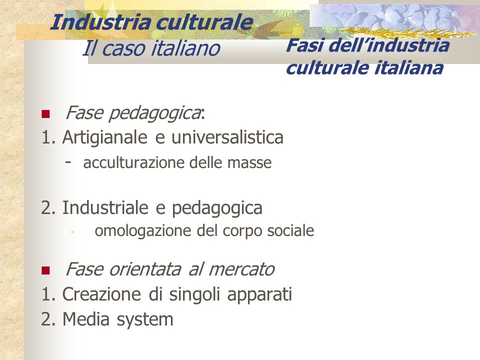 Fasi dell'industria culturale italiana