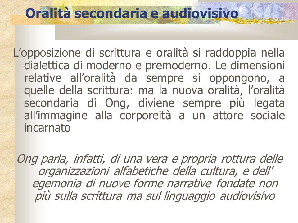 Oralità secondaria e audiovisivo