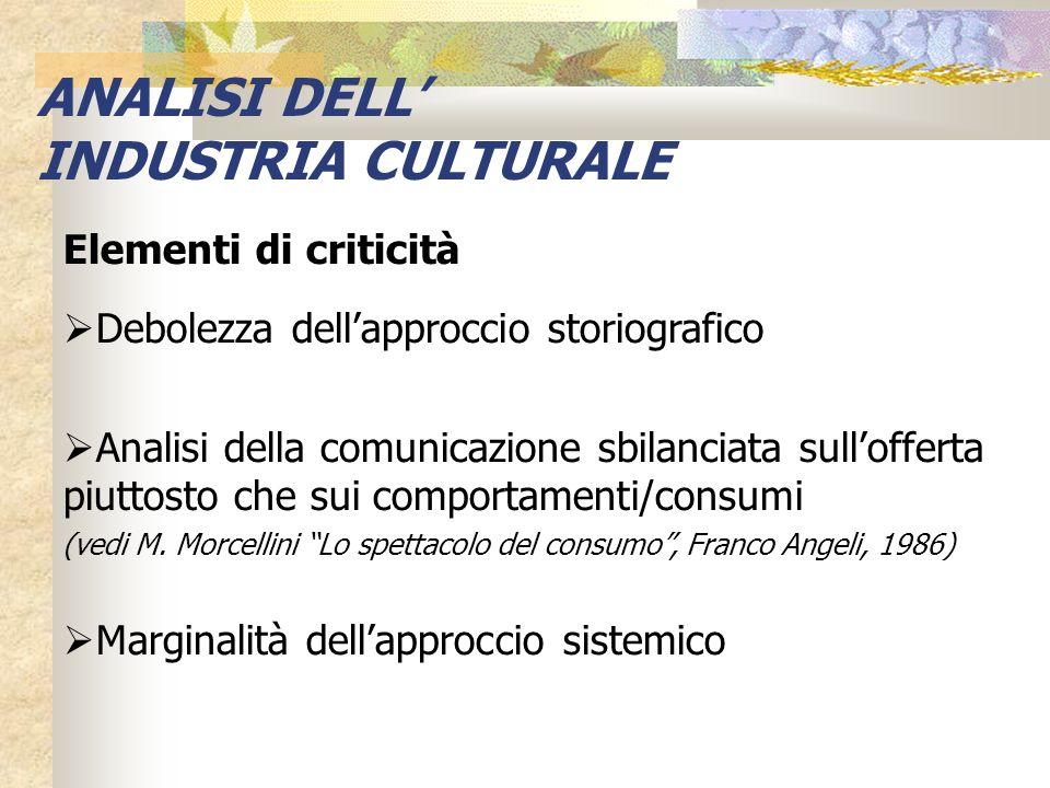 ANALISI DELL' INDUSTRIA CULTURALE Elementi di criticità