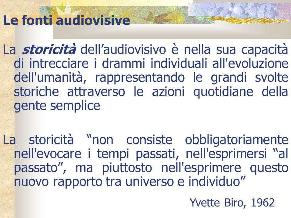 Le fonti audiovisive