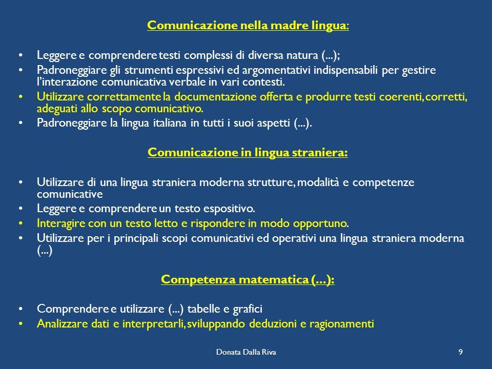 Comunicazione in lingua straniera: Competenza matematica (...):