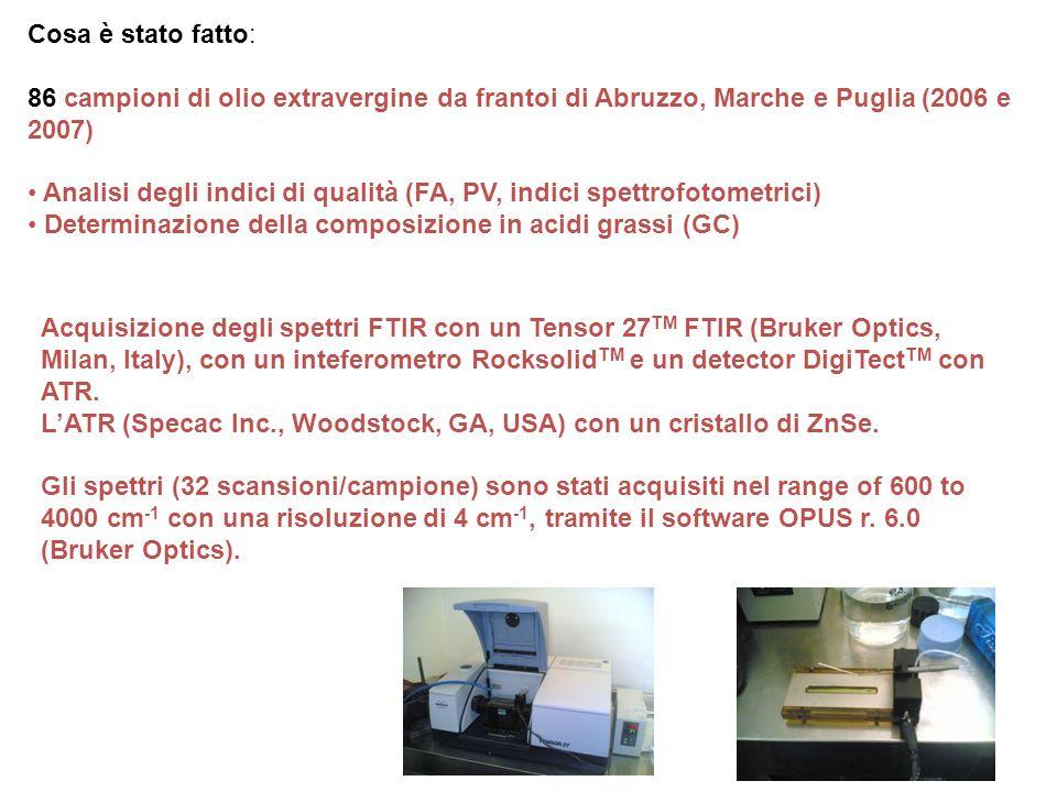 Cosa è stato fatto: 86 campioni di olio extravergine da frantoi di Abruzzo, Marche e Puglia (2006 e 2007)