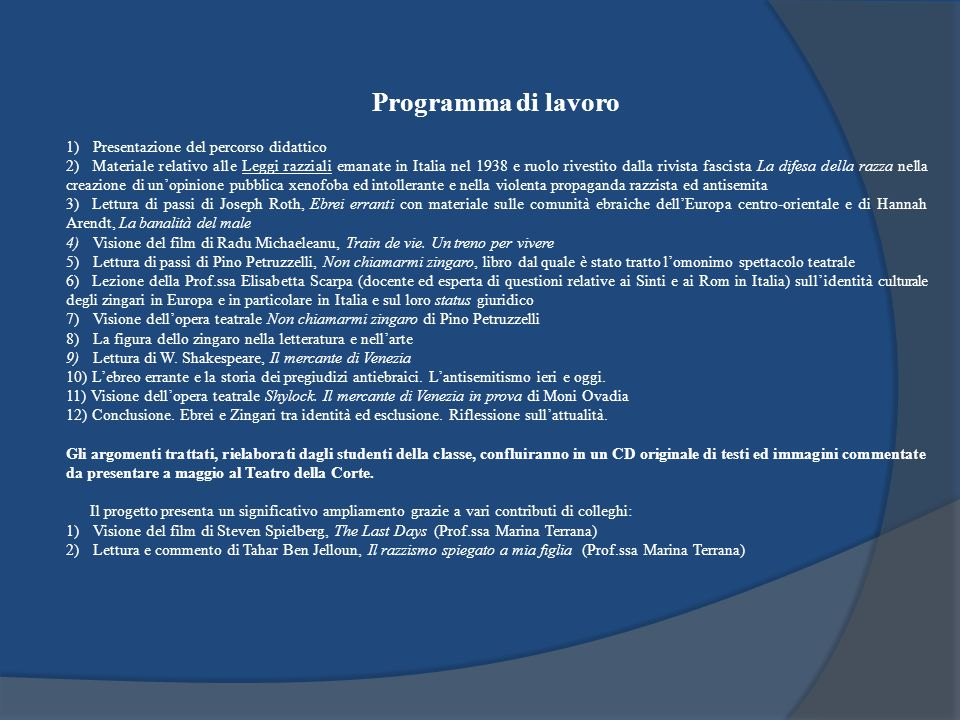 Programma di lavoro 1) Presentazione del percorso didattico