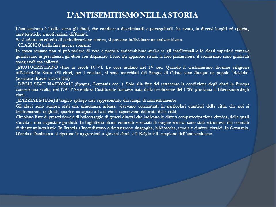 L'ANTISEMITISMO NELLA STORIA