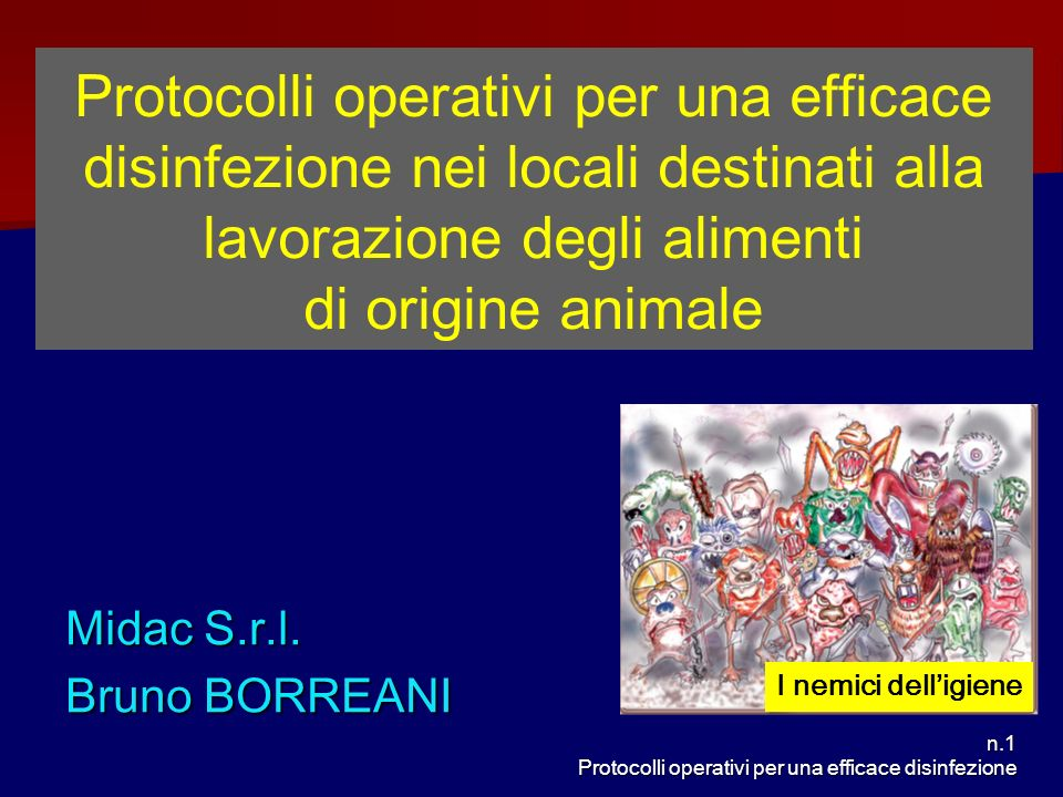 Protocolli operativi per una efficace disinfezione nei locali destinati alla lavorazione degli alimenti di origine animale