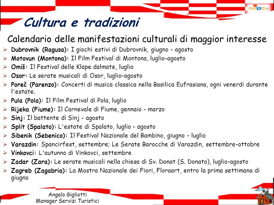 Calendario delle manifestazioni culturali di maggior interesse