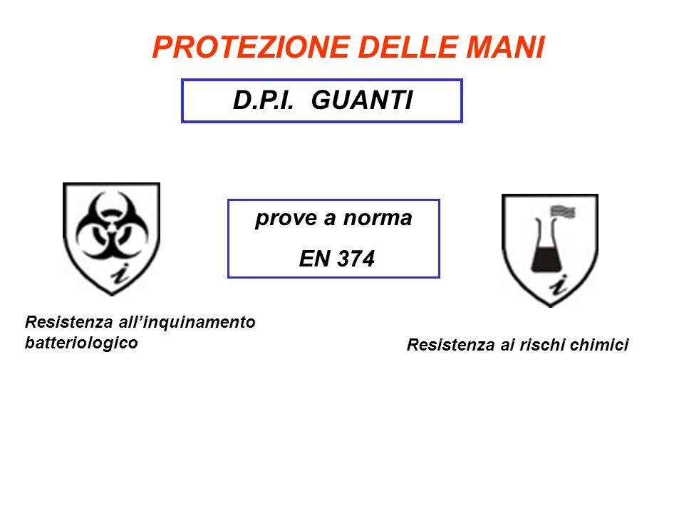 PROTEZIONE DELLE MANI D.P.I. GUANTI prove a norma EN 374