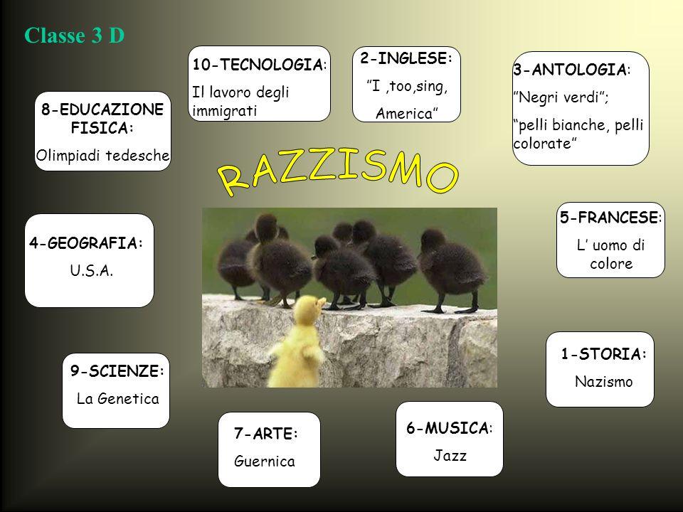 RAZZISMO Classe 3 D 2-INGLESE: 10-TECNOLOGIA: I ,too,sing,