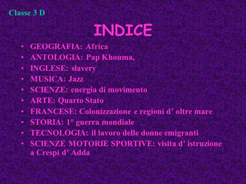 INDICE Classe 3 D GEOGRAFIA: Africa ANTOLOGIA: Pap Khouma,
