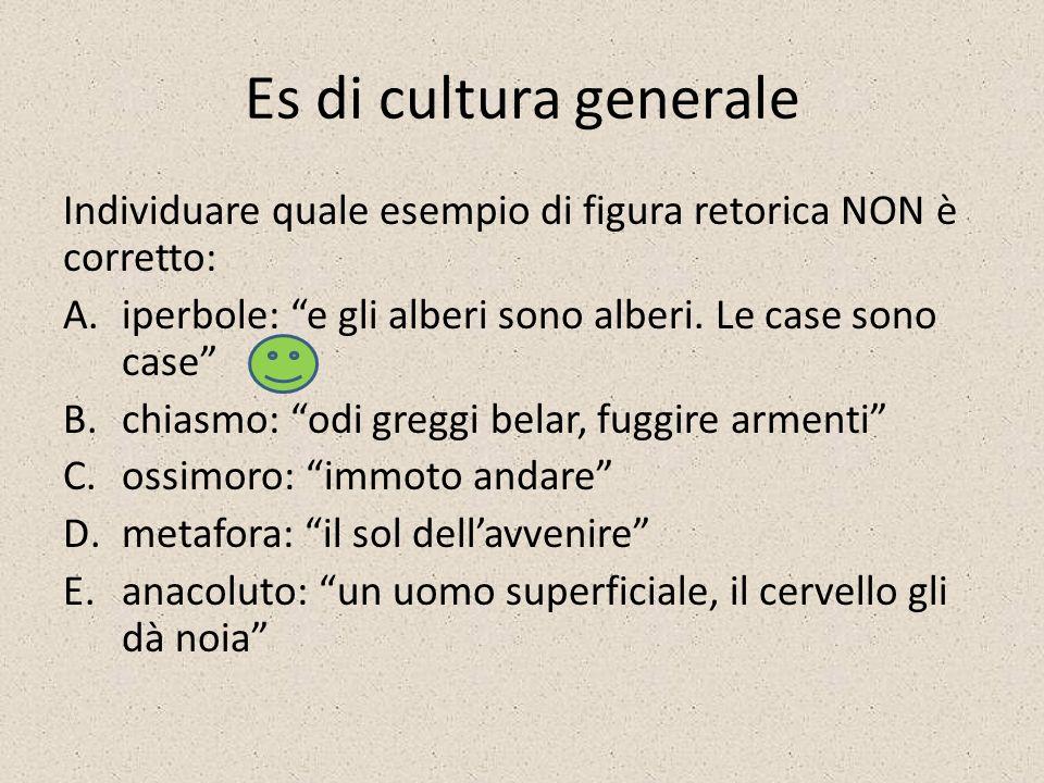 Es di cultura generale Individuare quale esempio di figura retorica NON è corretto: iperbole: e gli alberi sono alberi. Le case sono case