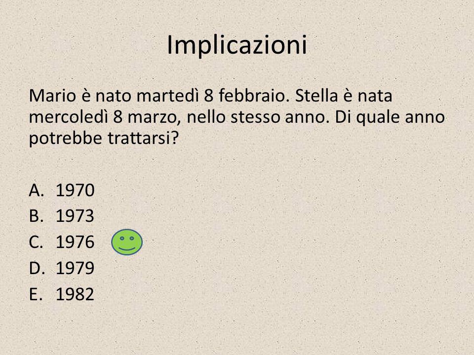Implicazioni Mario è nato martedì 8 febbraio. Stella è nata mercoledì 8 marzo, nello stesso anno. Di quale anno potrebbe trattarsi