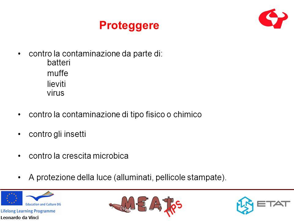 Proteggere contro la contaminazione da parte di: batteri muffe