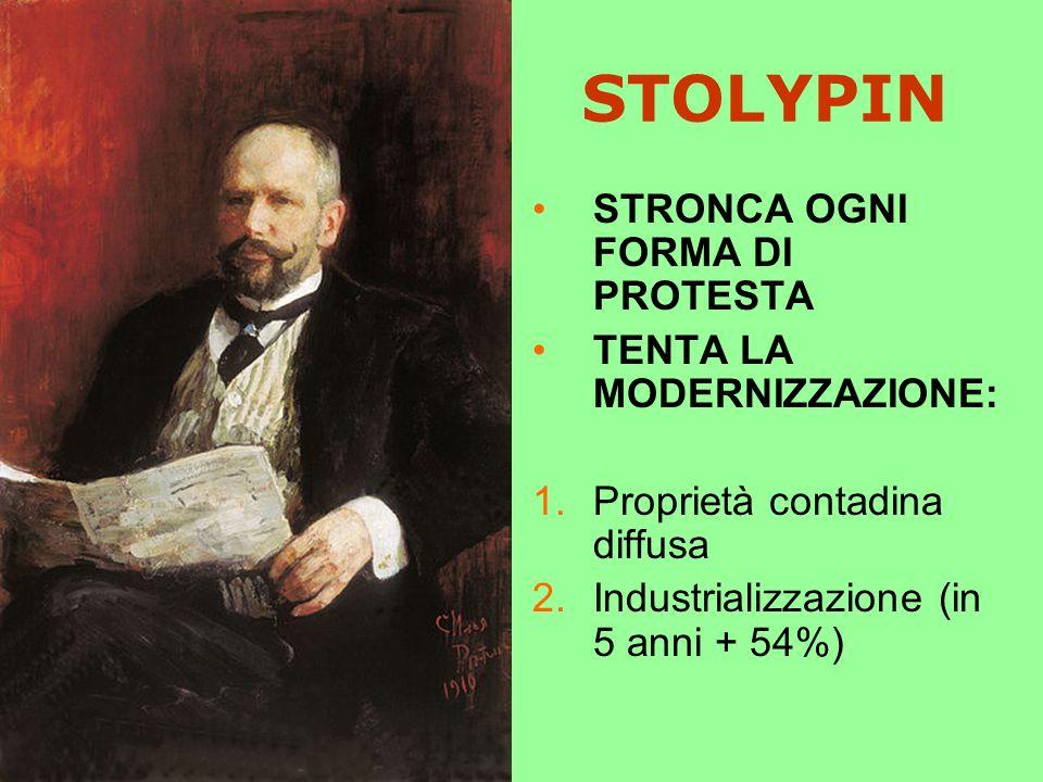 STOLYPIN STRONCA OGNI FORMA DI PROTESTA TENTA LA MODERNIZZAZIONE: