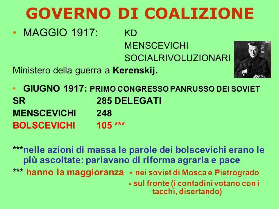 GOVERNO DI COALIZIONE MAGGIO 1917: KD MENSCEVICHI SOCIALRIVOLUZIONARI