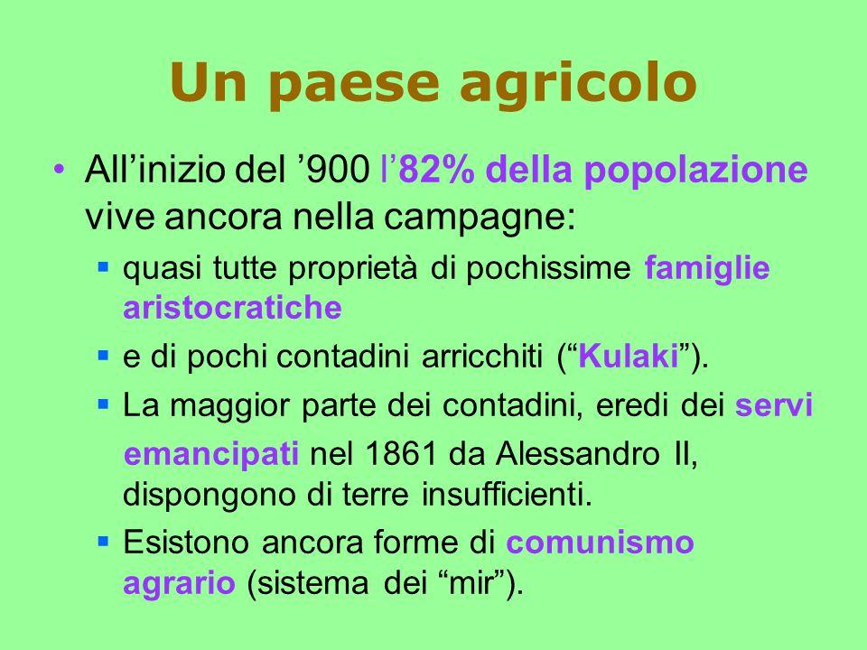 Un paese agricolo All'inizio del '900 l'82% della popolazione vive ancora nella campagne: