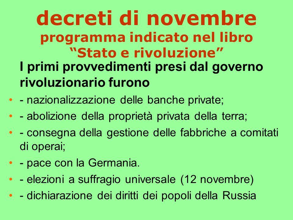 decreti di novembre programma indicato nel libro Stato e rivoluzione