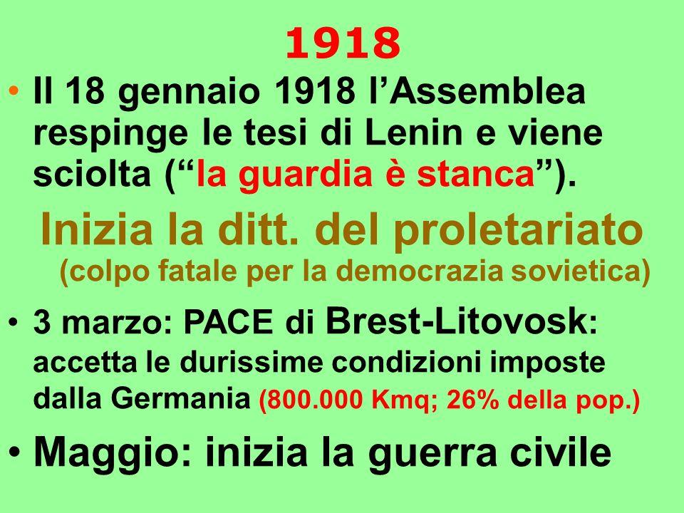 1918 Il 18 gennaio 1918 l'Assemblea respinge le tesi di Lenin e viene sciolta ( la guardia è stanca ).