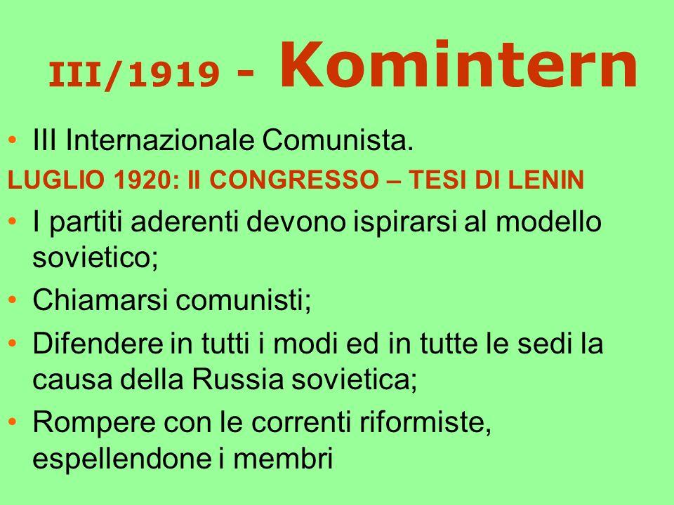 III/1919 - Komintern III Internazionale Comunista.