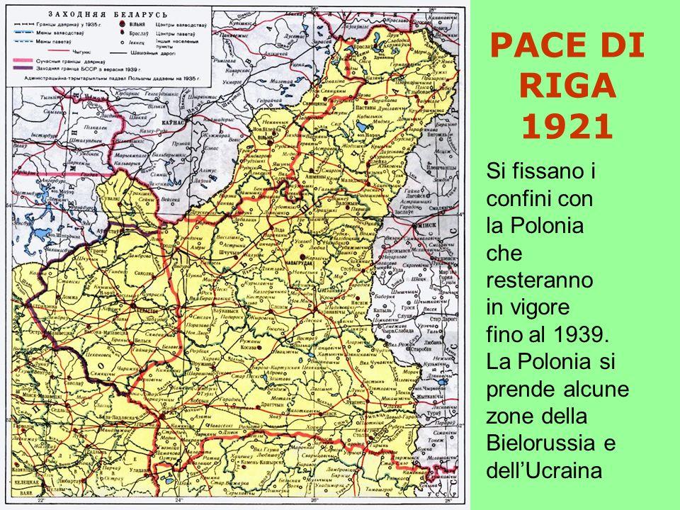PACE DI RIGA 1921 Si fissano i confini con la Polonia che resteranno