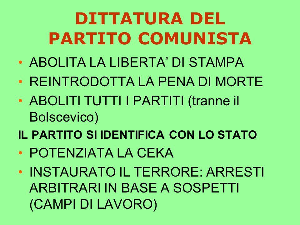 DITTATURA DEL PARTITO COMUNISTA
