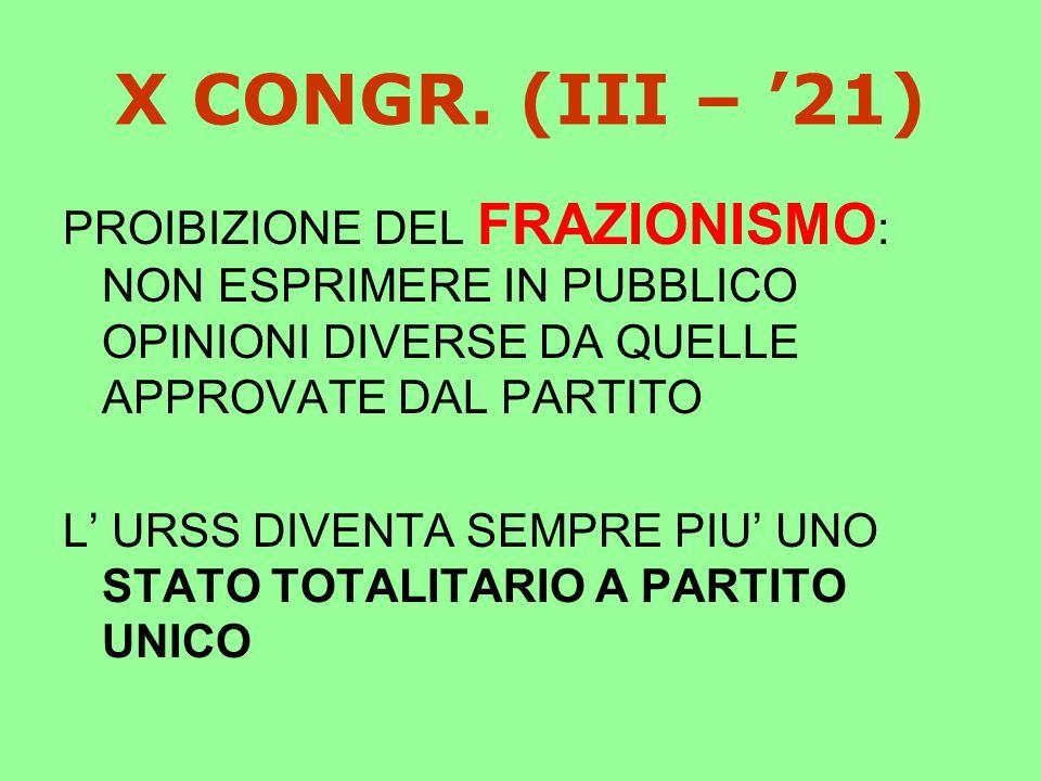 X CONGR. (III – '21) PROIBIZIONE DEL FRAZIONISMO: NON ESPRIMERE IN PUBBLICO OPINIONI DIVERSE DA QUELLE APPROVATE DAL PARTITO.