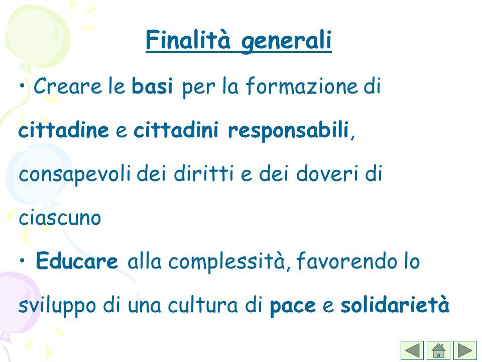 Finalità generaliCreare le basi per la formazione di cittadine e cittadini responsabili, consapevoli dei diritti e dei doveri di ciascuno.