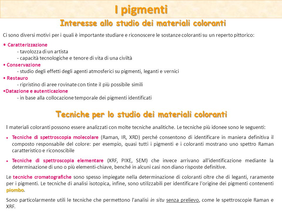 I pigmenti Interesse allo studio dei materiali coloranti
