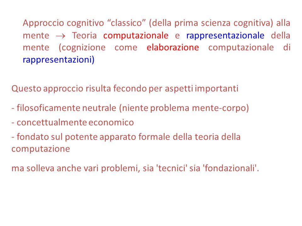 Approccio cognitivo classico (della prima scienza cognitiva) alla mente  Teoria computazionale e rappresentazionale della mente (cognizione come elaborazione computazionale di rappresentazioni)